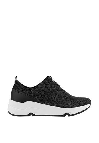 CO BLANC black CO BLANC Glitter Fabric Zip Detail Sneakers FBF65SHE61DD3EGS_1