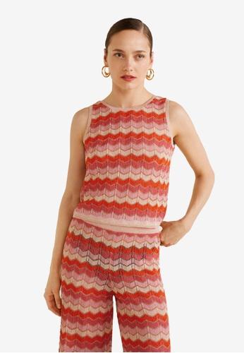 Mango red Striped Knit Top B5E62AAF3C344EGS_1