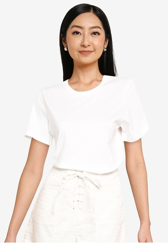 URBAN REVIVO white Simple T-Shirt 9F17CAAD5C1A25GS_1