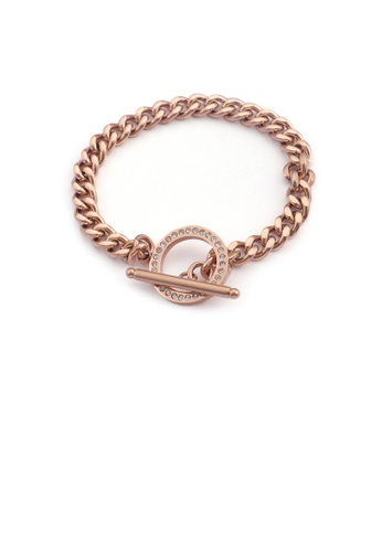 Glamorousky white Fashion Simple Plated Rose Gold Geometric Circle 316L Stainless Steel Bracelet with Cubic Zirconia 48458AC0634F88GS_1