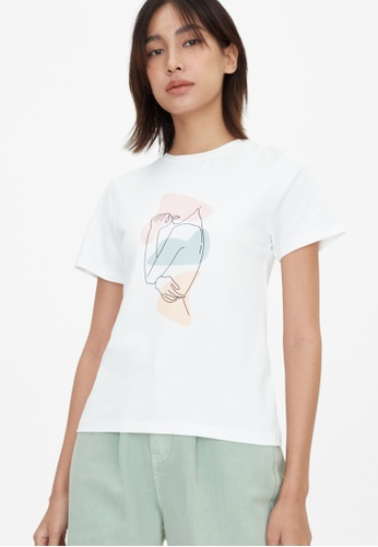 Pomelo white Woman Silhouette Graphic Tee - Off-White 73D9FAA932FC7AGS_1