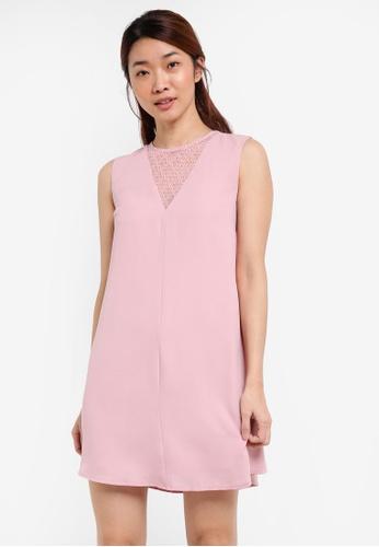 Something Borrowed pink Lace Panel Swing Dress F0CD9AA3371E1CGS_1