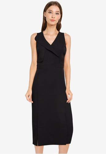 ZALORA WORK black Overlap Dress With Slits C270CAA5435E21GS_1