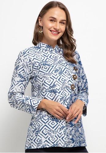 Le Viel Batik blue Graciella Blouse D8380AA2B7989EGS_1
