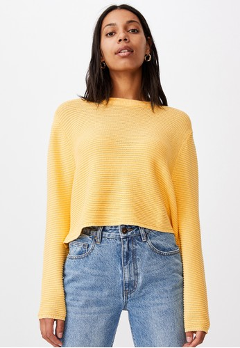 Cotton On yellow Cotton Cropped Pullover 6DA70AAD94A6D6GS_1