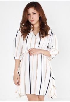 Sophisticated Vertical Pattern 3/4 Sleeved Dress