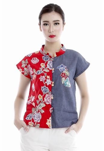 DhieVine Batik red and blue and multi Sriwitari Kembang Abang Top DH514AA0WVP0ID_1