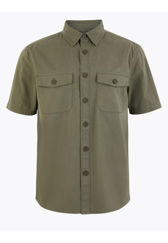 MARKS & SPENCER M&S Pure Cotton Utility Overshirt 96715AACDFDAC3GS_1