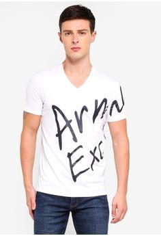 a560888ffd7 Armani Exchange white Written Logo V-Neck T-Shirt 040F8AA0926829GS 1