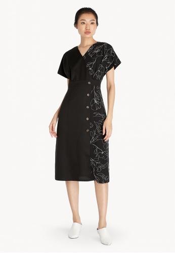 Pomelo black Mixed Fabric Side Buttons Dress - Black CD4DFAA2674E18GS_1