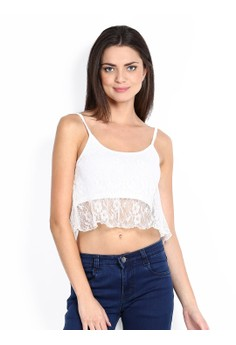 White Lace Premium Crop Top