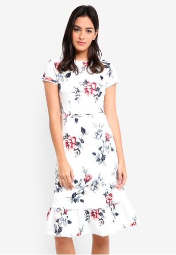 MDSCollections white Lidia Ruffled-Hem Dress In White Floral D413AAA6316BE9GS_1