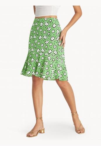 Pomelo green Mini Asymmetric Flared Floral Skirt - Green 0AA4AAAF5C128AGS_1