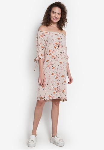 Spring Fling beige Offshoulder Floral Print Dress SP673AA0JZARPH_1