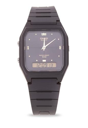 b4da3896d9f Shop Casio Ana-Digi Watch AW-48HE-1AVDF-BLACK Online on ZALORA ...