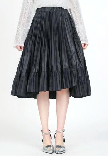 YOCO black Double Pleated Midi Skirt YO696AA0ROY4MY_1