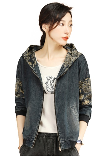 A-IN GIRLS blue Loose Printed Hooded Denim Jacket 78109AA1F43D43GS_1