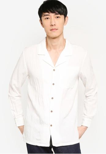 ZALORA BASICS white Revere Collar Linen Blend Shirt EEC55AA822D6FCGS_1