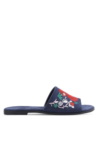 ZALORA navy Floral Embroidered Sandals 05C85SHBF1E6DBGS_1