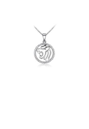Glamorousky white Fashion 925 Sterling Silver Leo Pendant with White Cubic Zircon and Necklace 71936ACBCD4F57GS_1