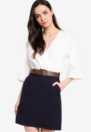 ZALORA WORK multi Kimono Sleeve Mini Dress With Belt 8E535AA2BDF775GS_1