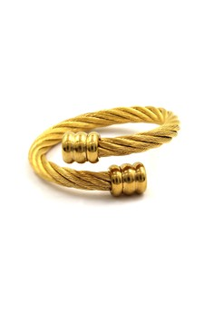 Gold Twisted Cable Wire Ring Flat Gold End