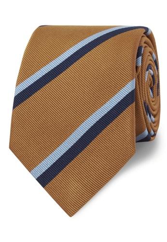T.M. LEWIN orange T.M.Lewin Classic Mustard Double College Stripe Silk Slim Tie 7A5EFAC0FDC970GS_1