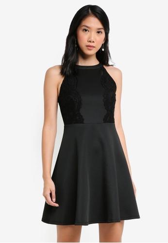 ZALORA black Scallop Lace Trim Dress C2966AA7A939F2GS_1