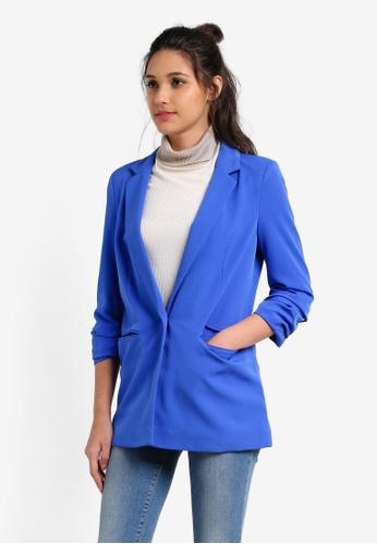 Miss Selfridge blue Cobalt Ruched Sleeve Blazer MI665AA0RXAEMY_1