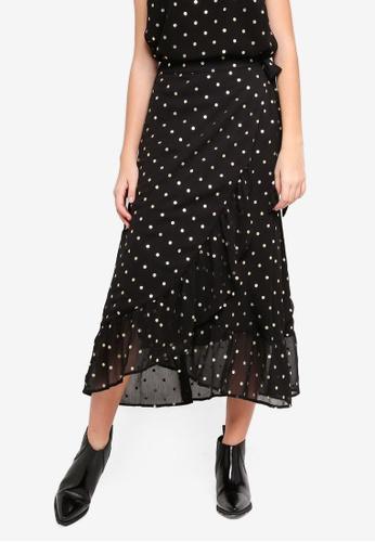 Pieces black Polka Dot Wrap Midi Skirt 7815FAA60A9C43GS_1