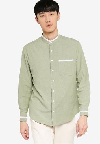 ZALORA BASICS green Stand Collar White Trim Shirt DBB05AA7D32AB5GS_1