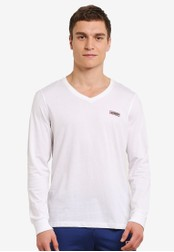 2GO white Long Sleeve V-Neck T-Shirt 2G729AA0S5ZBMY_1