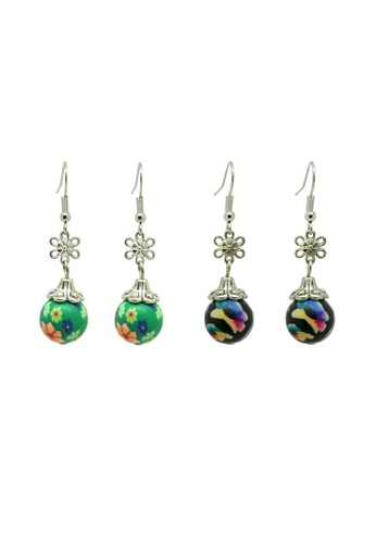 Fur Nyce black and green and multi 2 pairs Oriental Polymer Bead Drop Earrings FU779AC34DFXMY_1