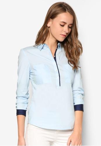 雙口袋長袖襯衫, 服飾zalora 衣服尺寸, 服飾