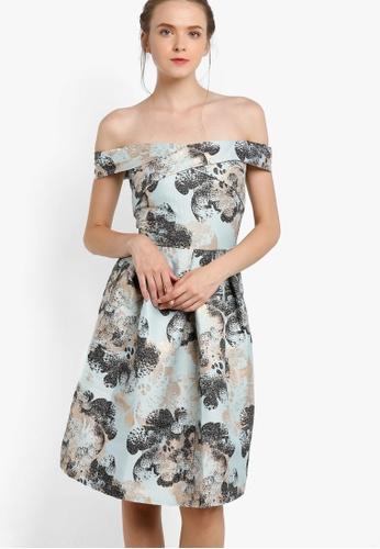 Miss Selfridge blue and multi Premium Jacquard Bardot Prom Dress MI665AA87EAMMY_1