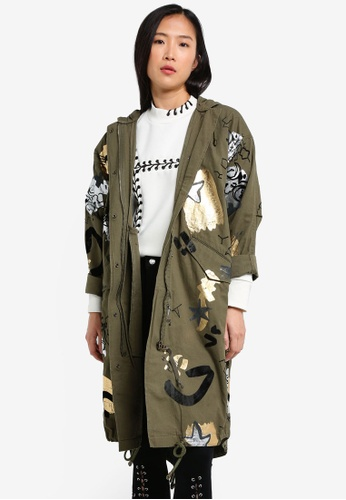 TOPSHOP green Oversized Printed Flock Detail Parka TO412AA0RZEXMY_1