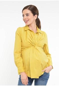 dc131715e01b6 9months Maternity yellow Mustard Maternity Draped Shirt 823EAAAA19ADEAGS_1