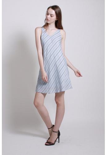 QLOTHE blue Neutral Ground: Kate Striped Mini Dress 893D1AAB4412C1GS_1