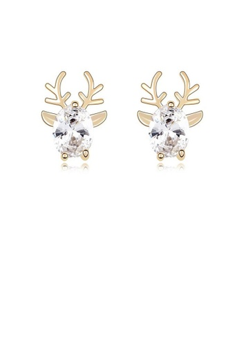 Glamorousky white Sparkling Deer Stud Earrings with White Cubic Zircon 2FBD4AC9EC99A6GS_1