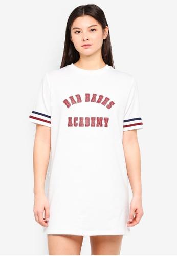 Something Borrowed white Striped Tee Dress With Slogan 5ABD5AA15DD649GS_1