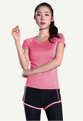B-Code pink ZYG5148-Lady Quick Drying Running Fitness Yoga Sports Top and Leggings with Shorts-Pink C443EAACEE85B4GS_1