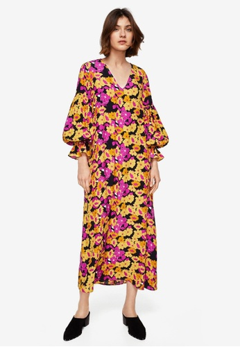 Mango yellow Floral Print Dress 80A80AAD63017AGS_1