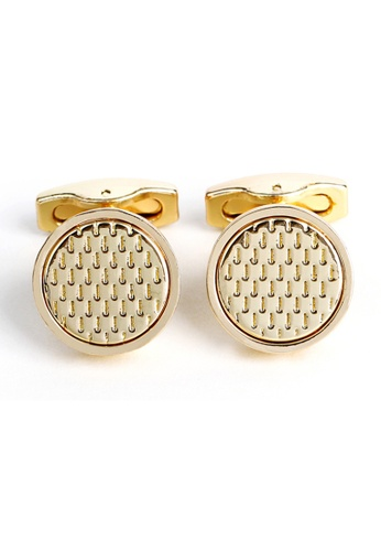 Kings Collection gold Elegant Round Gold Cufflinks (KC10051a) 9B57BAC50EA017GS_1