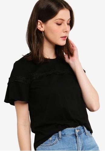 ZALORA 黑色 褶飾袖滾邊T恤 78AB9AA9AD16FAGS_1