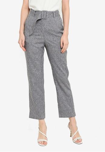 ZALORA WORK grey Belted Tailored Pants 8EB0EAAFDAFAA2GS_1