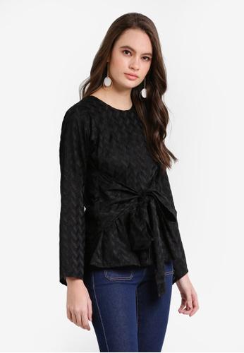 Seleksi Akma black Embroidery Knot Top SE519AA0RDASMY_1