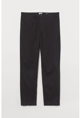 H&M black Cotton chinos Regular Fit 86F71AA67B91AAGS_1