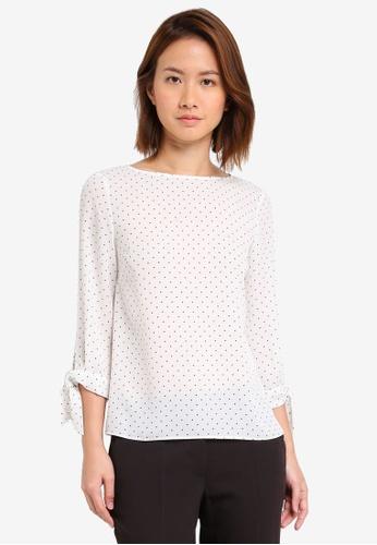 Dorothy Perkins white Petite Spot Tie Sleeve Blouse DO816AA0SSZZMY_1
