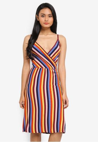 92c6799a70 Buy WAREHOUSE Rainbow Stripe Cami Wrap Dress   ZALORA HK