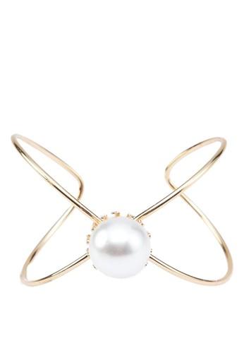 交叉鏤空珍珠手zalora是哪裡的牌子鐲, 飾品配件, 手鐲 & 手環